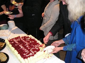 enjoying the celebration cake
