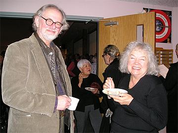 Author Gary Bauslaugh and harpist Gwyneth Evans enjoy the intermission