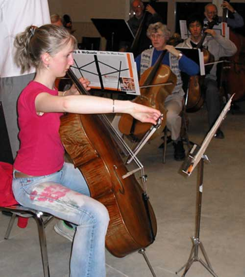 Naomi McLean, cellist soloist, in rehearsal for the March 2005 Serenade to Spring concert.